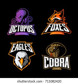 Furious octopus, fox, eagle and cobra sport vector logo concept set isolated on black. Street wear mascot team badge design. Premium quality wild animal emblem t-shirt tee print illustration.