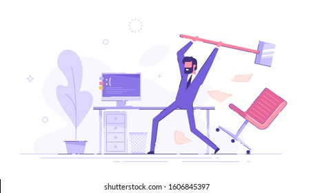 Furious office worker is destroying his own personal computer by hammer. Hard work. Angry businessman cartoon character. Modern vector illustration.