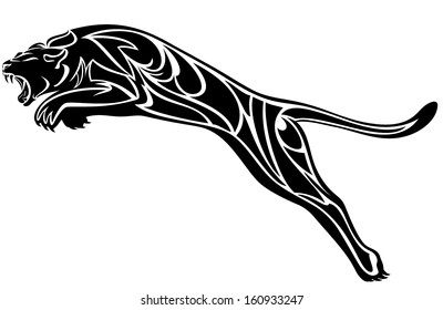 furious panther jump - black and white vector illustration