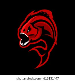 Furious piranha sport vector logo concept isolated on black background. Modern professional team predator badge design. Premium quality wild fearsome fish t-shirt tee print illustration.