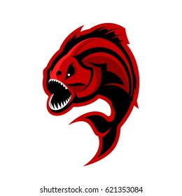 Furious piranha sport vector logo concept isolated on white background. Modern professional team predator badge design. Premium quality wild fearsome fish t-shirt tee print illustration.