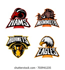 Furious ram, mammoth, hornet and eagle sport vector logo concept set isolated on white. Street wear mascot team badge design. Premium quality wild animal emblem t-shirt tee print illustration.