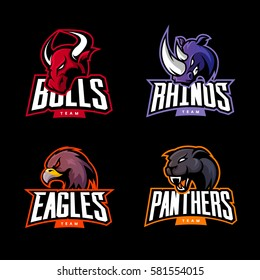 Furious rhino, bull, eagle and panther sport vector logo concept set isolated on dark background. Web infographic team pictogram. Premium quality wild animal and bird t-shirt tee print illustration.