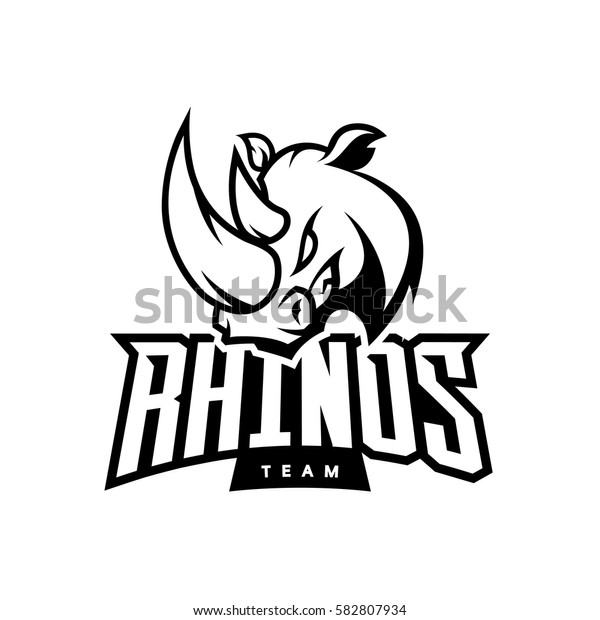 Furious rhino sport mono vector logo concept isolated on white background. Web infographic professional team pictogram. Premium quality wild animal t-shirt tee print illustration.
