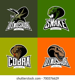 Furious snake, cobra, dinosaur head isolated vector sport logo concept set. Modern badge mascot design. Premium quality wild animal t-shirt tee print character illustration. Street racing team emblem.