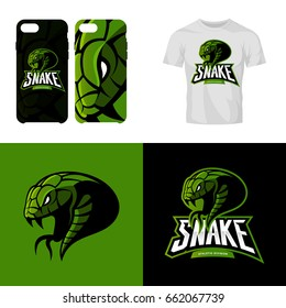 Furious snake sport club isolated vector logo concept. Modern professional team badge mascot design. Premium quality wild reptile t-shirt tee print illustration. Smart phone case accessory emblem.