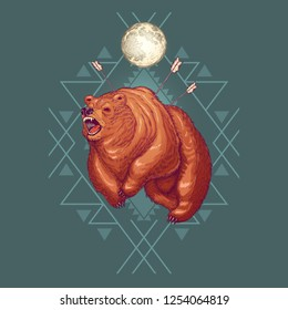 Furious werebear cartoon vector illustration with geometrical ornament and aggressive grizzly bear wounded with arrows, running and roaring under full moon. Native Americans totem animal or spirit