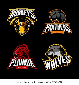 Furious wolf, hornet, panther and piranha sport vector logo concept set isolated on black. Street wear mascot team badge design. Premium quality wild animal emblem t-shirt tee print illustration.