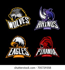 Furious wolf, rhino, eagle and piranha sport vector logo concept set isolated on black. Street wear mascot team badge design. Premium quality wild animal emblem t-shirt tee print illustration.