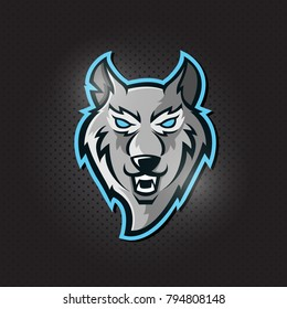 Furious wolf sport  logo concept isolated on dark background.