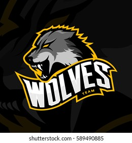 Furious wolf sport vector logo concept isolated on dark background. Professional predator team pictogram design. Premium quality wild animal t-shirt tee print illustration.