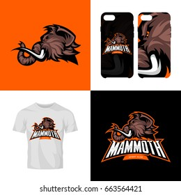 Furious woolly mammoth head sport club isolated vector logo concept. Modern team badge mascot design. Premium quality wild animal t-shirt tee print illustration. Smart phone case accessory emblem.