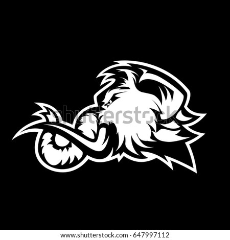 furious woolly mammoth head sport vector stock vector royalty free Woolly Mammoth Head through Wall furious woolly mammoth head sport vector logo concept isolated on black background modern predator professional