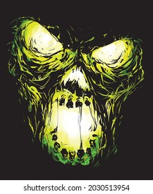 furious zombie face green fire demonic scream on a black background vector illustration halloween