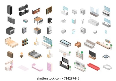 Furniture for an apartment. Isometric flat 3D isolated concept vector cutaway Constructor for creating a bathroom, living room, bedroom, kitchen