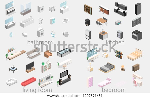 Furniture Apartment Isometric Flat 3d Isolated Stock Vector ...