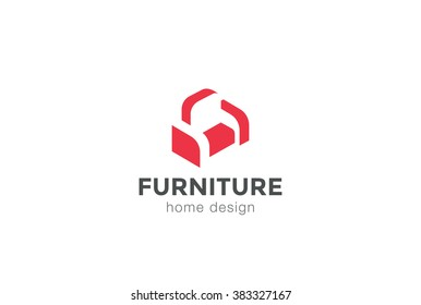 Furniture Armchair Sofa Logo design silhouette vector template negative space style