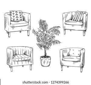 Furniture. Armchairs and flowerpot vector ilustration