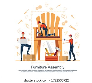 Furniture assembly concept illustration. Workers of manufacture with professional tools. Help from furniture store professional. Flat cartoon vector illustration