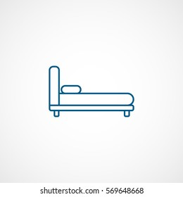 Furniture Bed Blue Line Icon On White Background