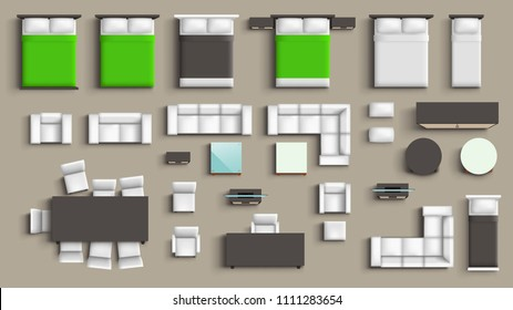 Kitchen Equipment Top View Vector Images Stock Photos