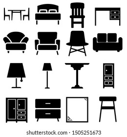Furniture black icons Vector set. Furniture illustration symbol collection.