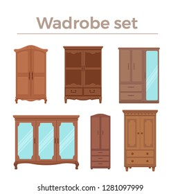 Furniture cartoon vector illustration. Wood wardrobe flat style isolated icons set. Room interior elements collection cabinet to create apartments design, promotions, advertisement