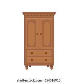 Furniture cartoon vector illustration. Wood wardrobe flat style isolated icon. Room interior element cabinet to create apartments design, promotions, advertisement