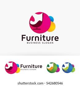 Furniture, chair, art, design, interiors. Vector logo template