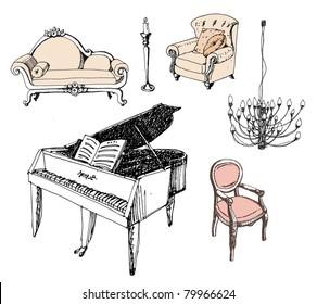 Furniture. Chair. Sofa. Piano.