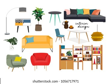 furniture collection. vector interior design elements.