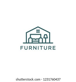 Furniture Conceptual Logo Design with Chair and Lamp Illustration in Room of House