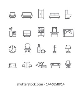Furniture and Decorate Simple icons set,Vector