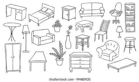 furniture and decoration vector set