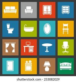 Furniture decorative icons set. Vector illustration.