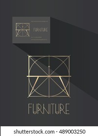 Furniture design company logo. Night table with drawer in blue print style. Line art company branding.