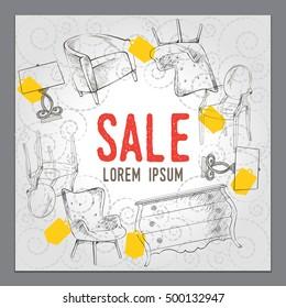 furniture design promotional material vector illustrations sale