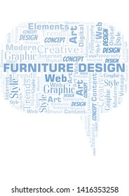 Furniture Design word cloud. Wordcloud made with text only.