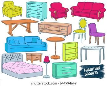 Furniture Doodles Set. Interior Design Sketch Collection. Home Accessories.  Modern Armchair. Retro