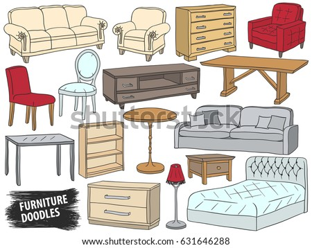 Furniture Doodles Set Interior Design Sketch Stock Vector Royalty