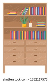 Furniture with drawers, wooden chest of drawers with shelves, office cabinet, folders or books, decorative elements, houseplant, element of interior design for home or office, flat icon isolated