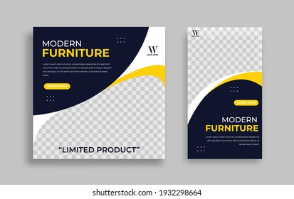 Furniture Editable minimal square banner template. Yellow black background color with geometric shapes for social media post, story and web internet ads. Vector illustration