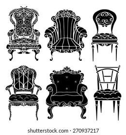 Furniture Hand Drawn Set Vintage Chair Armchair Throne Front View Closeup Black
