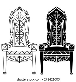 Furniture hand drawn set, vintage gothic chair, armchair, throne front view with  cross closeup, line art, black silhouette isolated on a white background