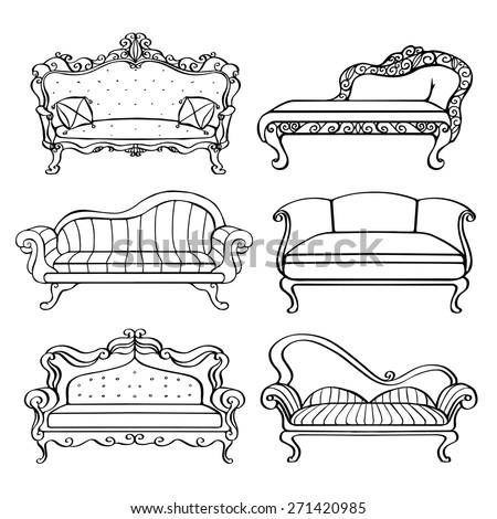 Furniture Hand Drawn Set Vintage Sofa Stock Vector Royalty Free