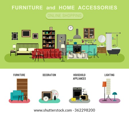 Furniture Home Accessories Banner Vector Flat Stock Vector (Royalty ...