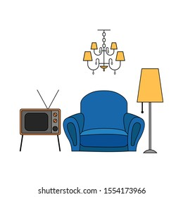 Furniture and home accessories, including retro tv set, lamp,  chandelier, armchair. Flat cartoon style vector illustration of interior items set