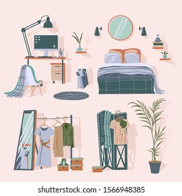Furniture and home accessories of woman room. Vector interior design elements in Scandinavian style.
