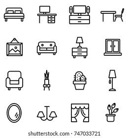 Furniture and home decor icon set. Vector illustration