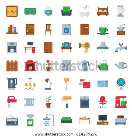 Furniture Home Decor Icon Set Vector Stock Vector Royalty Free